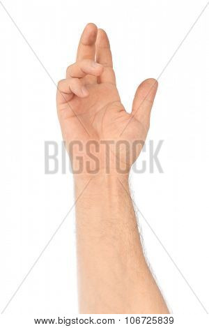 Greeting hand isolated on white background
