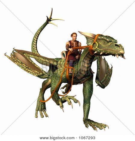 green dragon with rider in the saddle running along ground poster