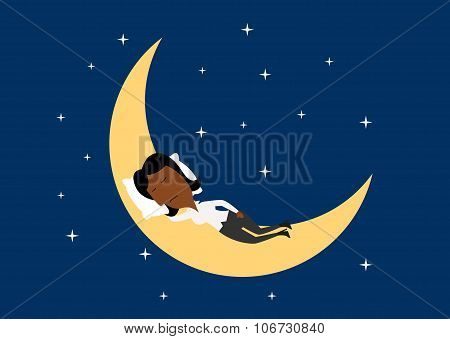 Weary businesswoman sleeping on the moon
