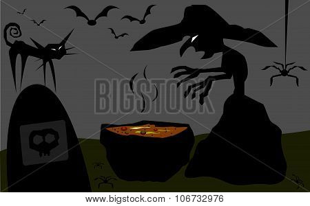 Ugly Witch preparing poison in the cemetery. poster