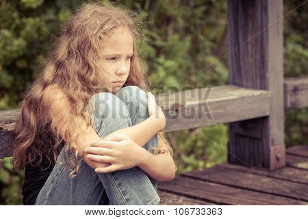 Portrait Of Sad Blond Teen Girl