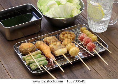 kushiage, kushikatsu, deep fried skewers, japanese food