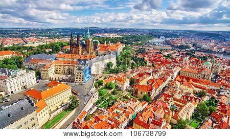 Church Saint Vitus, Ventseslaus And Adalbert And Area Lesser Town Of Prague. Czech Republic.