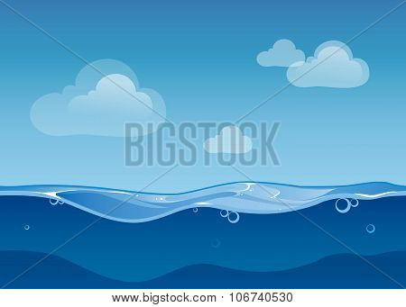 Water ocean seamless landscape with sky and clouds. Cartoon background for game design