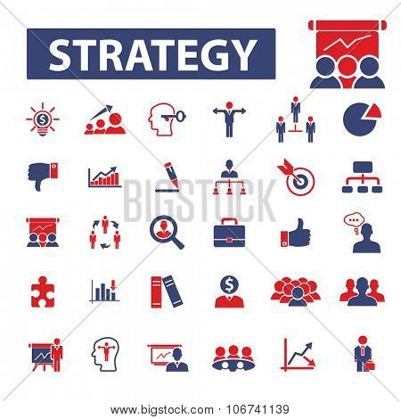 business strategy icons, signs vector concept set for infographics, mobile, website