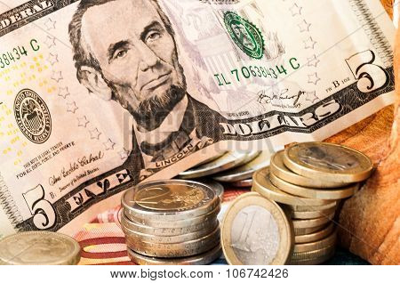 Money Euro Dollar Bill Coins