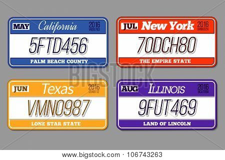 License car number plates vector set. California, New York, Texas, Illinois