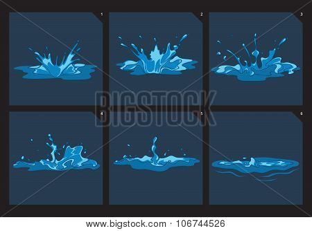 Blue water splashes vector frame set for game animation