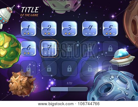 Cartoon space vector background for UI game