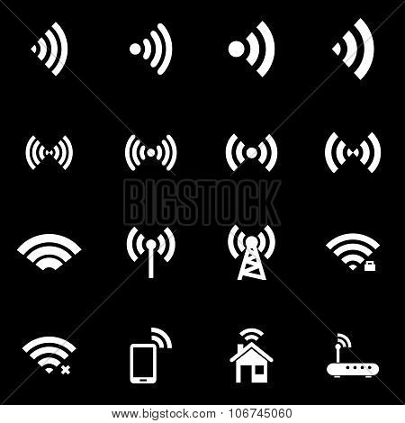 Vector White Wireless Icon Set