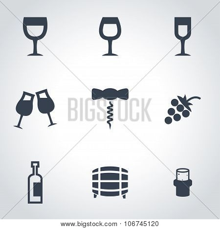 Vector Black Wine Icon Set