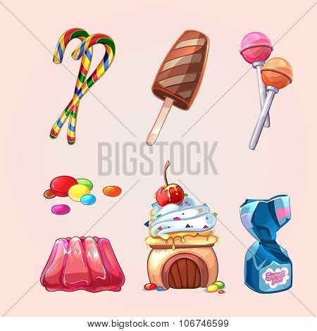 Vector sweets and cookies set in cartoon style