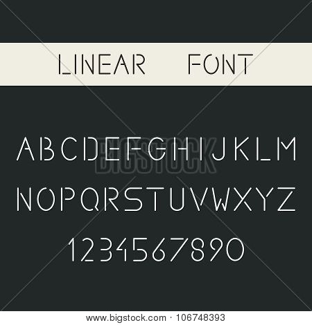 Vector minimalistic linear sans-serif font. Thin lines alphabet