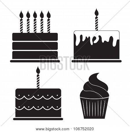 Birthday Cake Silhouette Set Vector Illustration