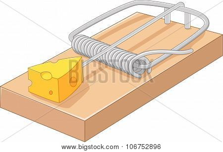 Cartoon free cheese in a mousetrap