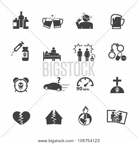 Alcoholism icons set. Vector