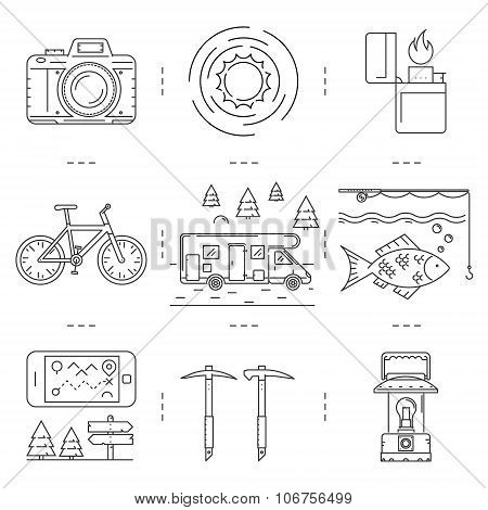 Linear Icons Set Of Hiking And Camping