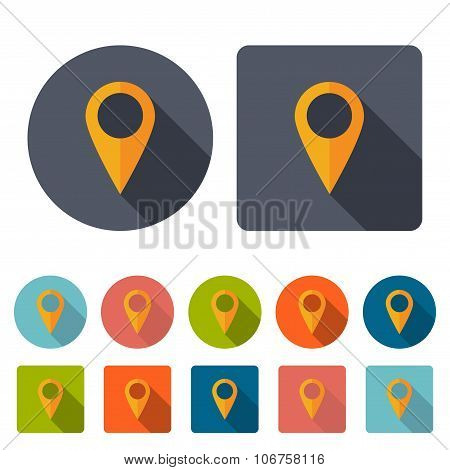 Pointer Icons Set For Map In The Style Flat Design On A White Background. Stock Vector Illustration