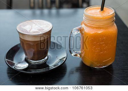 Fresh orange squeeze juice with mocha coffee