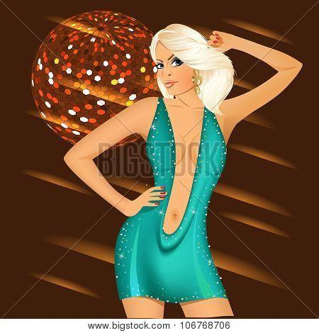 sexy blonde girl in night club