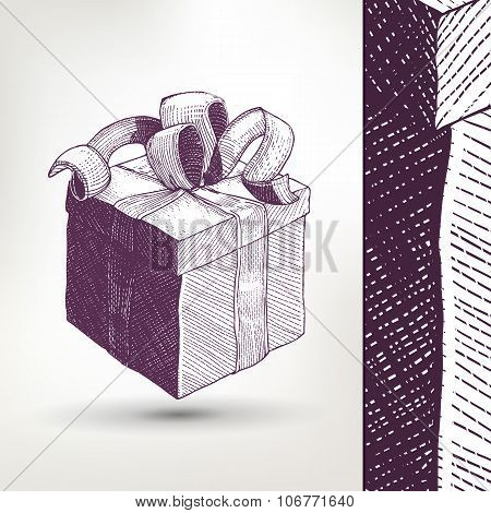 Ink drawing vector Gift Box with ribbon