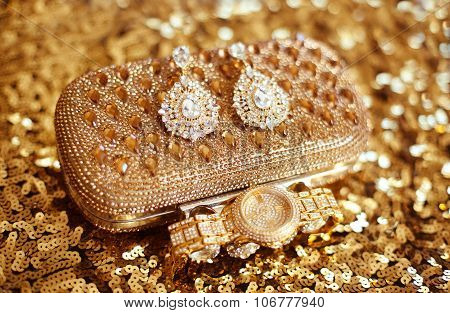 Fashion Diamond Earrings And Golden Wristwatch, Womens Accessories Precious Gem Jewel Set On Sequins