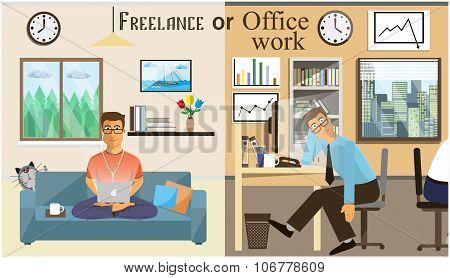 The Concept Of Office Work And The Freelancing. Scenes Of People Working In The Office