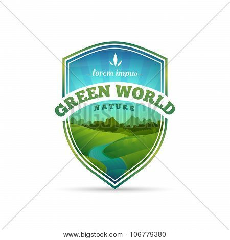 Logo, sign, badge in the shape of a shield with nature, landscape, tree, river. Cartoon style. Vecto
