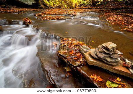 Autumn Waterfall Cairn