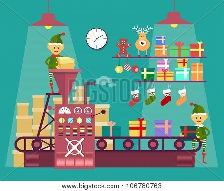 Elves make Christmas and New Year gifts, vetor illustration