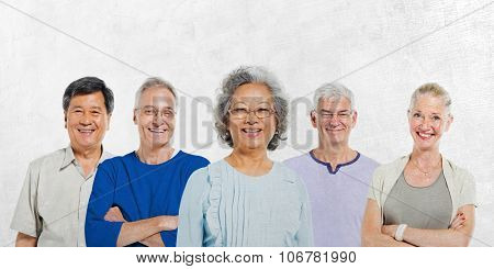 Mullti-ethnic Senior Group of People Diverse Ethnic Concept