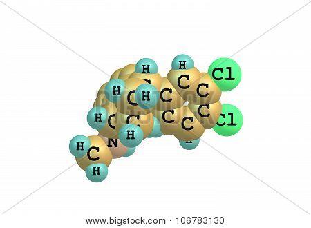 Sertraline is an antidepressant of the selective serotonin reuptake inhibitor. 3d illustration