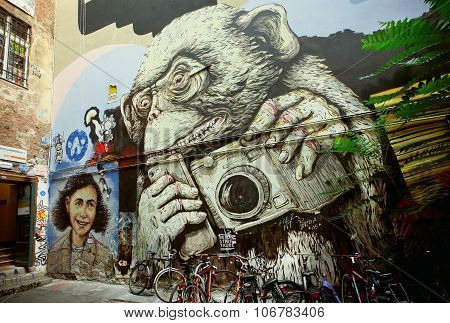 Hipster Monkey With Mobile Phone And Camera, Unknown Artist Graffiti