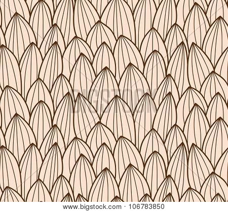 Seamless Pattern With Hand Drawn Cactus Grid