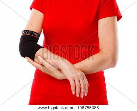 Tennis elbow - woman holding painful elbow isolated on white background