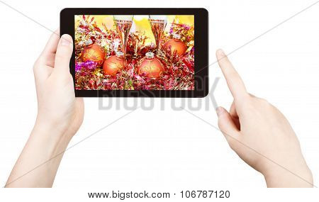 Take Photo Of Gold Xmas Still Life With Tablet Pc
