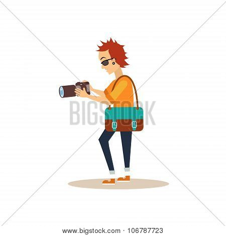 Working Photographer in Flat Style. Vector Illustration