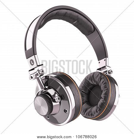 Retro Headphones Of Black Leather Isolated On White Background 3D