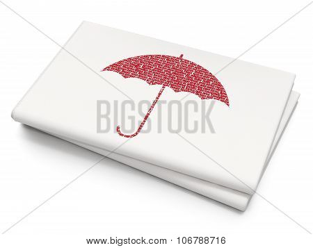 Privacy concept: Umbrella on Blank Newspaper background