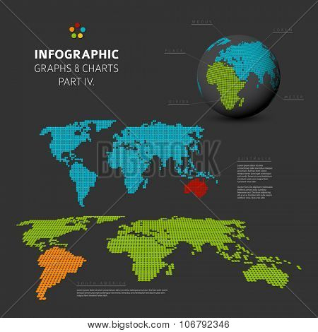 Set of vector flat design infographics charts - world map visualization - part 4 of my infographic bundle, dark version