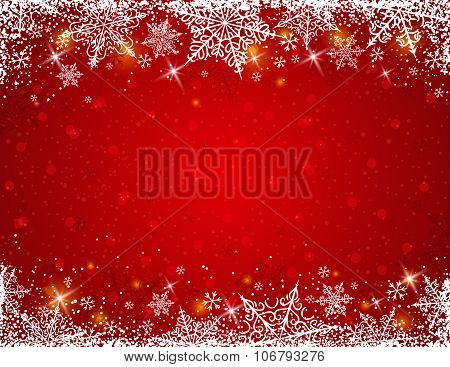 Red Background With  Frame Of Snowflakes,  Vector