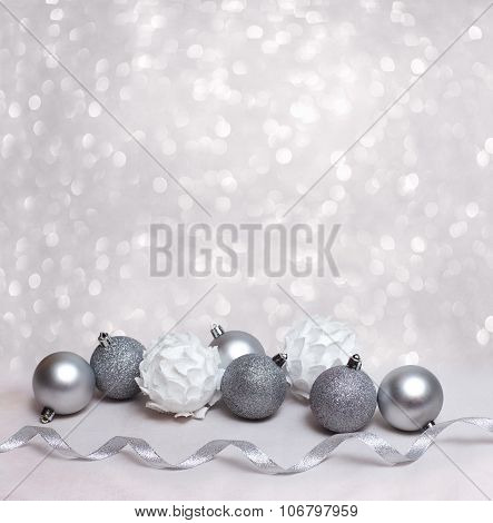 Christmas Background With White Balls And Free Place For Your Text