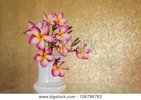 Sweet beautiful fragrant flower frangipani (plumeria) in vintage style background