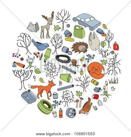 Pollution of the environment. Garbage and waste in forests, in wildlife.  Eco concept.