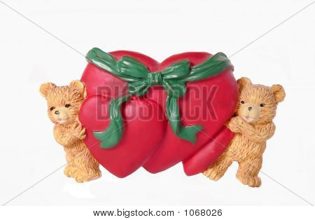 Two Teddy With Two Heart On A White Background, Valentine