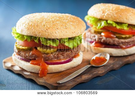 burger with beef patty lettuce onion tomato ketchup poster