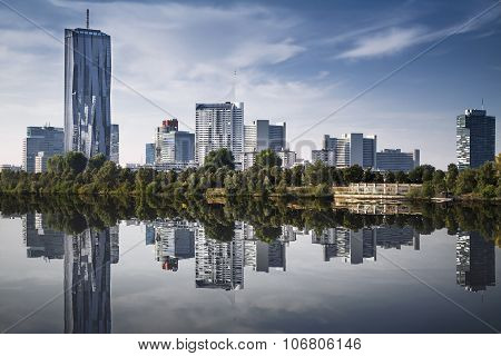Vienna financial district cityscape with Danube river