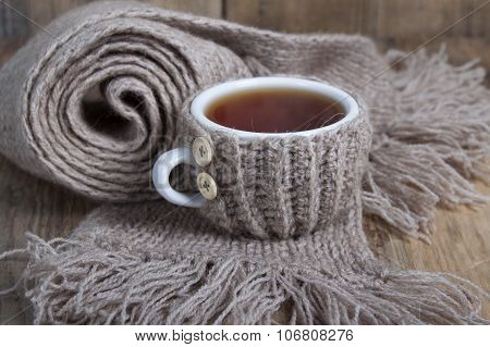 A Cup Of Hot Tea In Cover - Warmer