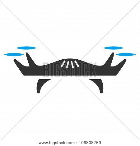 Air Drone vector icon. Style is flat symbol, rounded angles, white background. poster