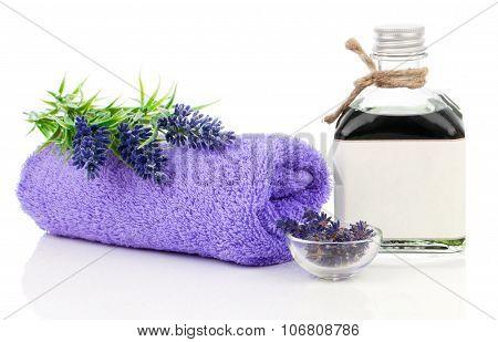 Fresh Lavender Blossoms With Natural Handmade Lavender Oil, On White Background